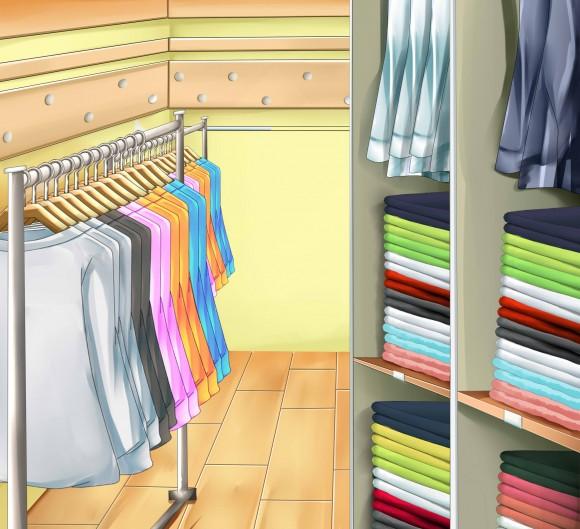 整理された洋服のイラスト