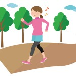 ウォーキングをする女性のイラスト